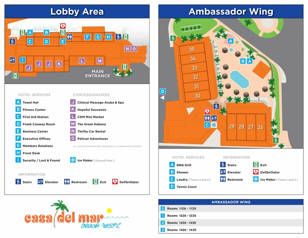 Plan of the lobby and the Ambassador Wing of Casa Del Mar Aruba Beach Resort and Timeshare